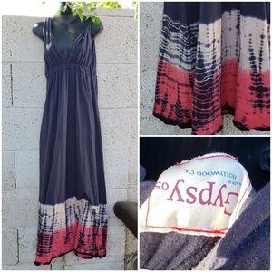 Gypsy 05 Tie Dye Twist Strap Maxi Dress